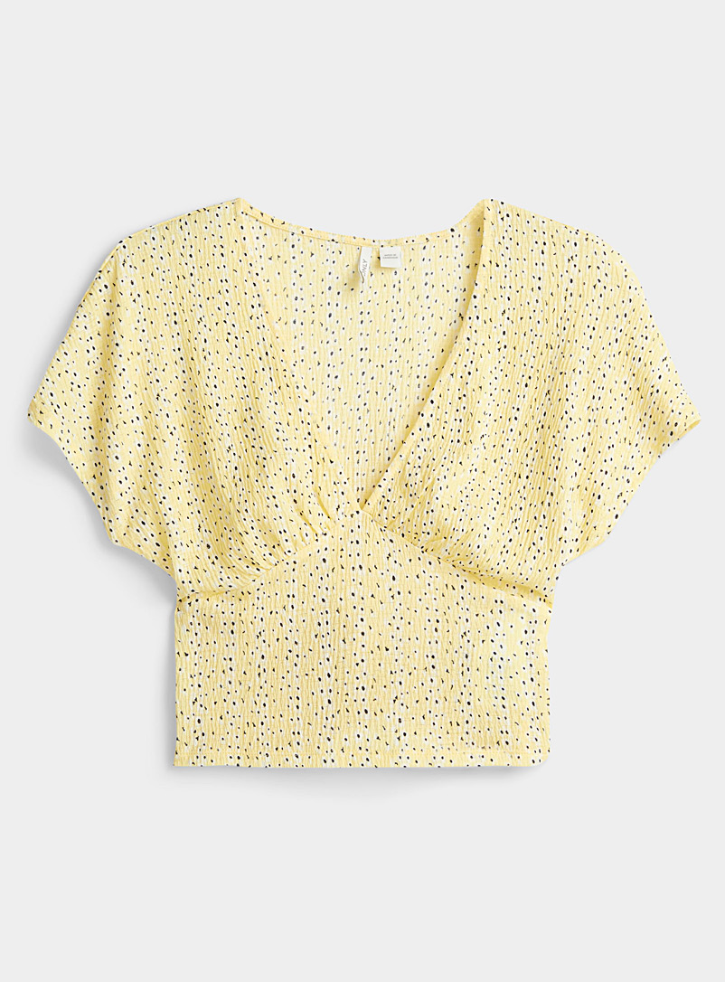 Only Patterned Yellow Delicate flower tee for women