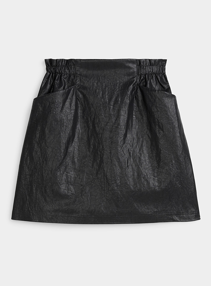 Gathered-waist faux-leather skirt