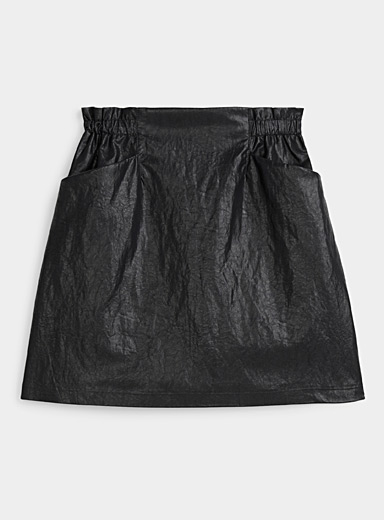 Only Black Gathered-waist faux-leather skirt for women