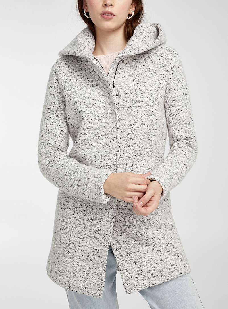 Only Patterned White Sedona heather bouclé wool coat for women