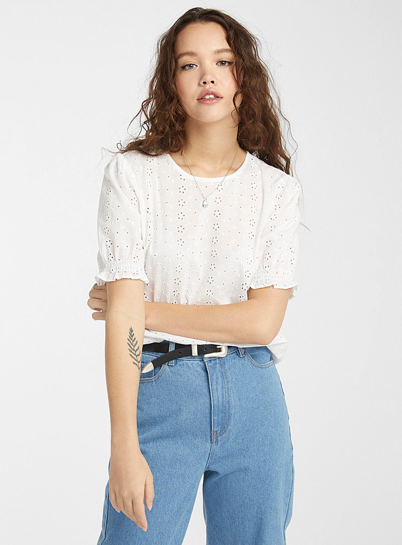 Only: La blouse broderie anglaise manches bulle Blanc pour femme