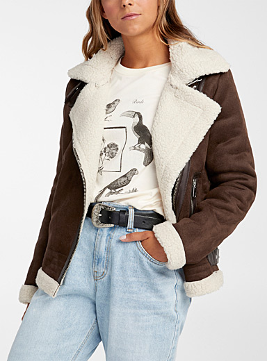 Only Dark Brown Sherpa suede finish bomber jacket for women