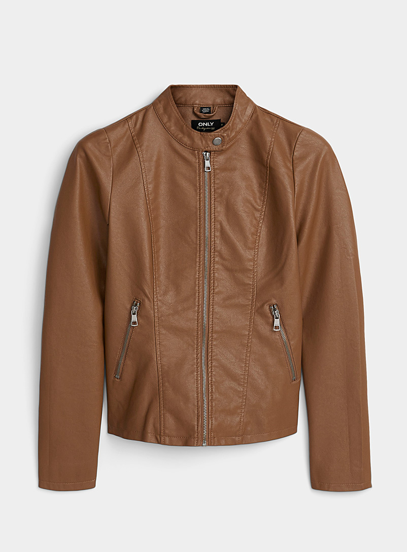 Only Brown Melissa faux-leather biker jacket for women