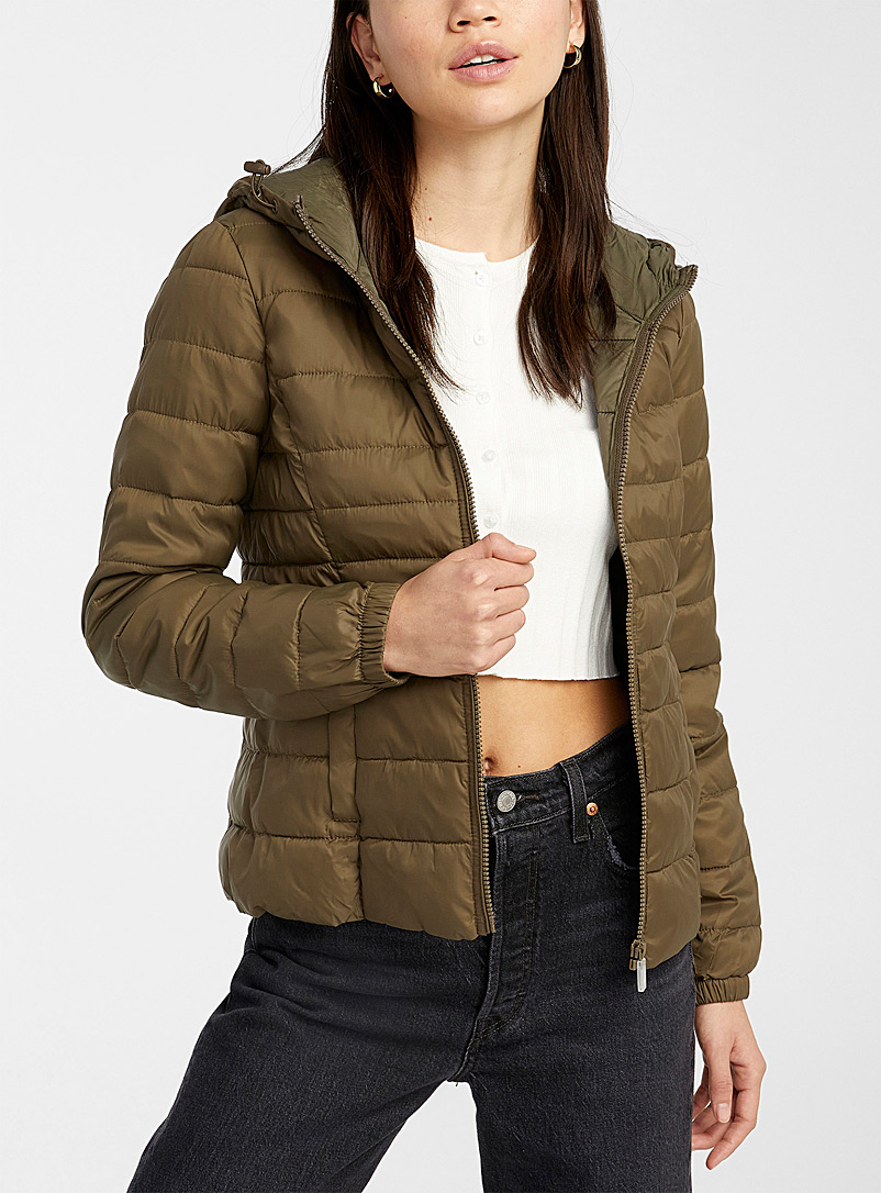 Only Mossy Green Tahoe cropped puffer jacket for women