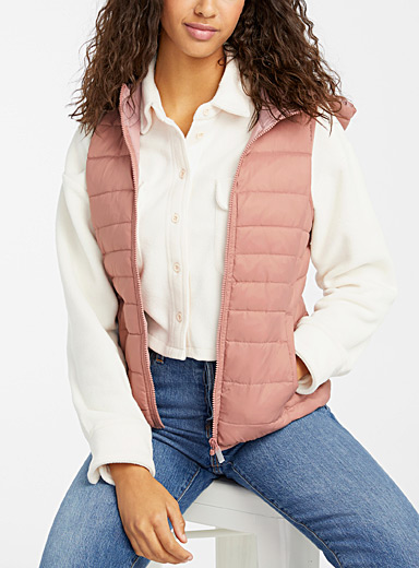 Only Dusky Pink Quilted sleeveless vest for women