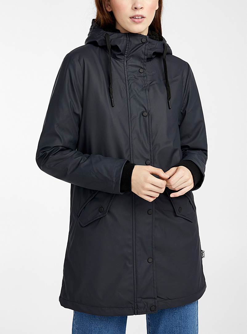 Only Marine Blue Long sherpa-lined raincoat for women