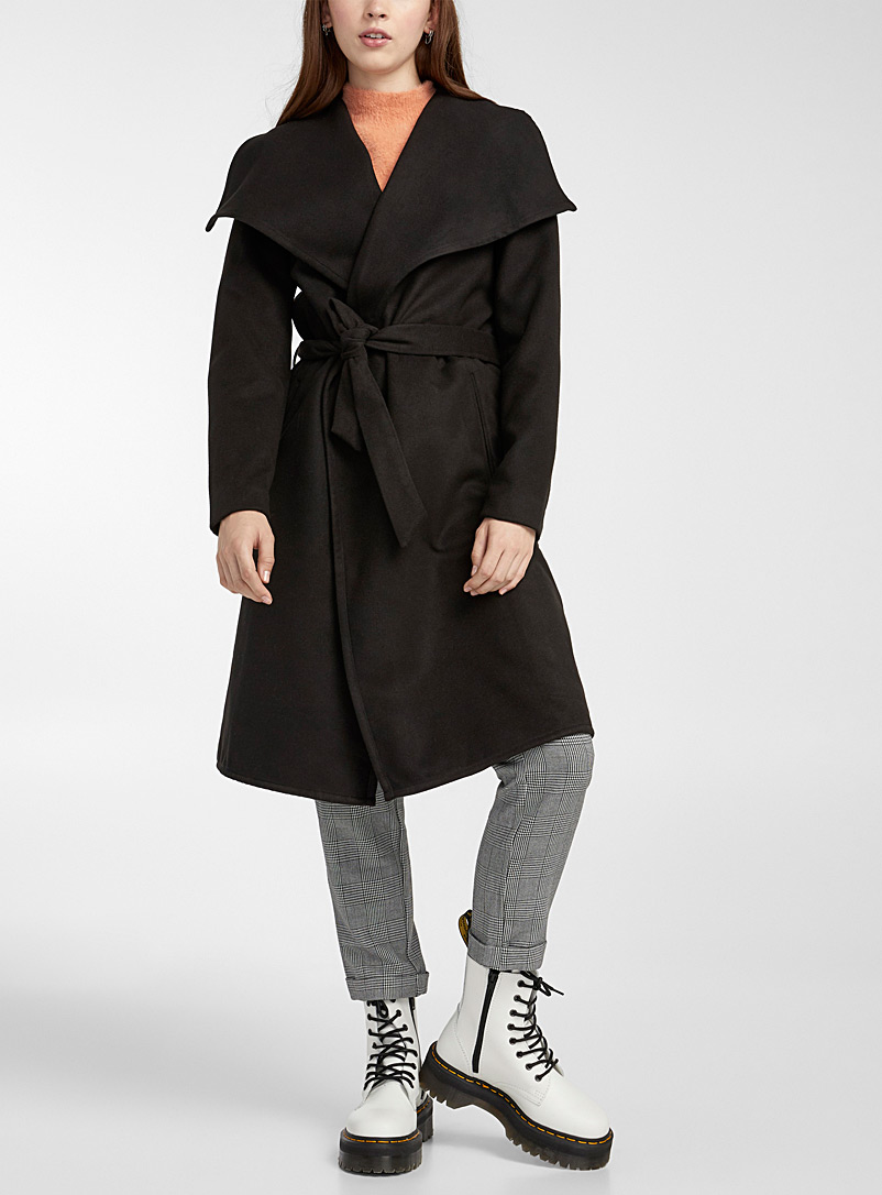 Only Black Phoebe crossover coat for women