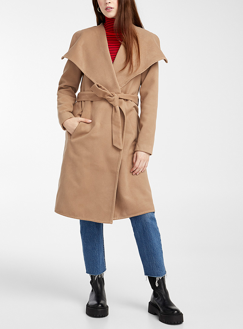 Only Fawn Phoebe crossover coat for women