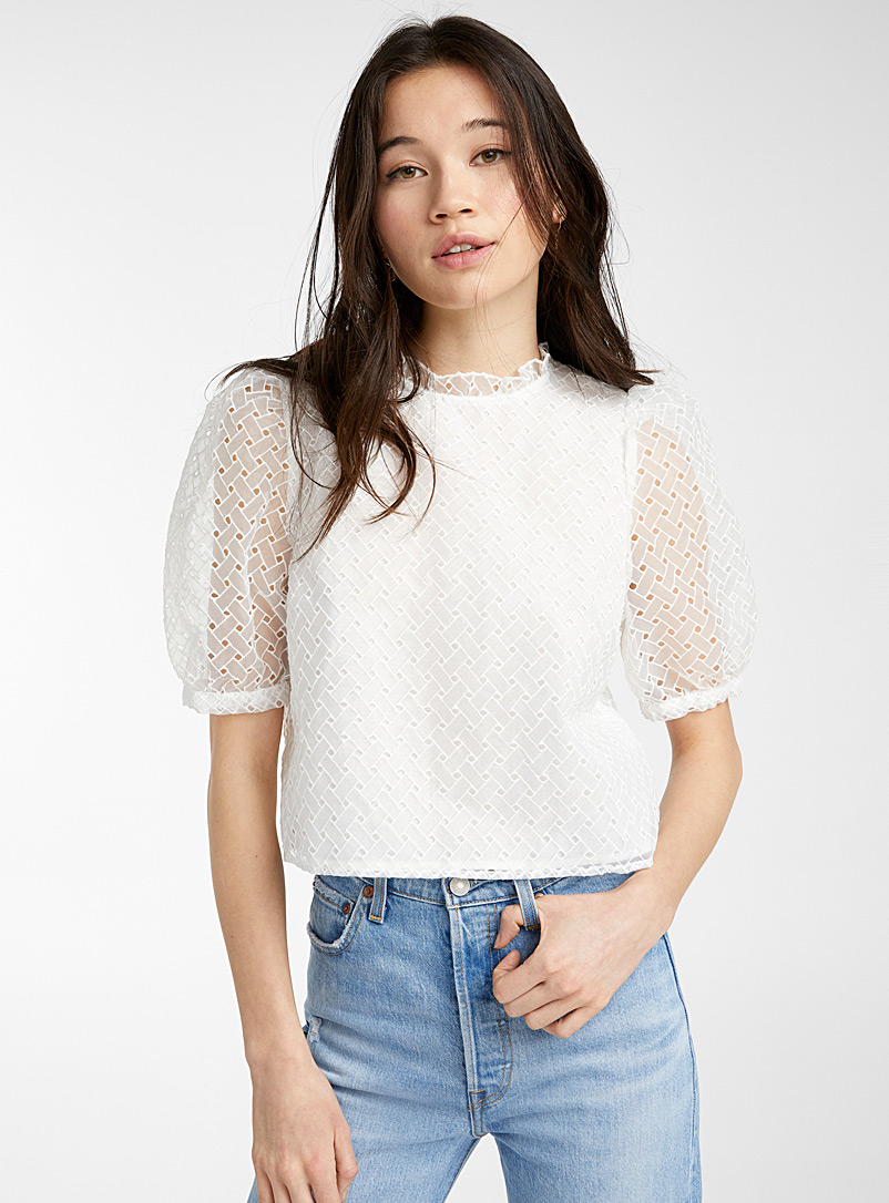 Only Ivory White Puff sleeve geometric embroidery blouse for women