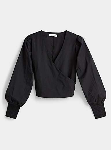 Neon & Nylon Black Crossover puff-sleeve blouse for women