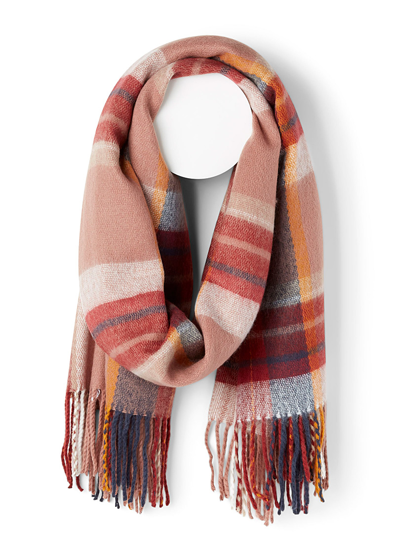 Only Patterned Red Fluffy check scarf for women