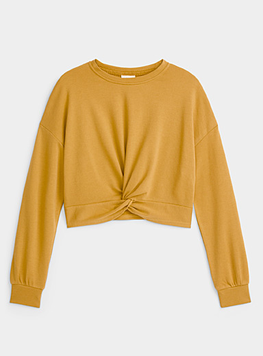 Only Golden Yellow Twisted cropped sweatshirt for women