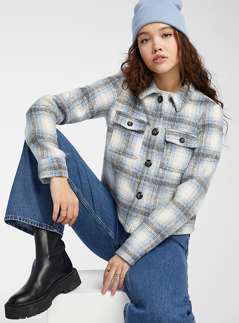 Only Patterned White Check brushed cropped overshirt for women
