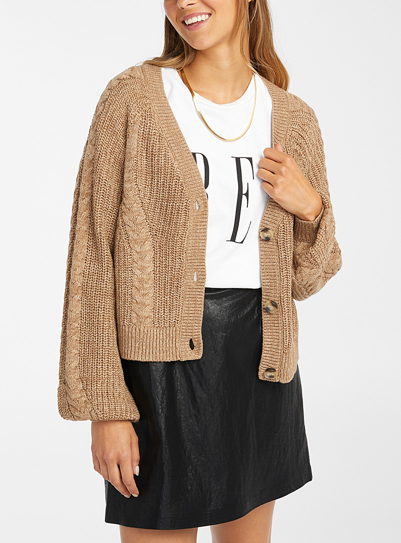 Cropped cable and rib cardigan