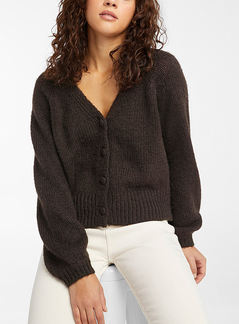 Only Dark Brown Covered-button cropped cardigan for women