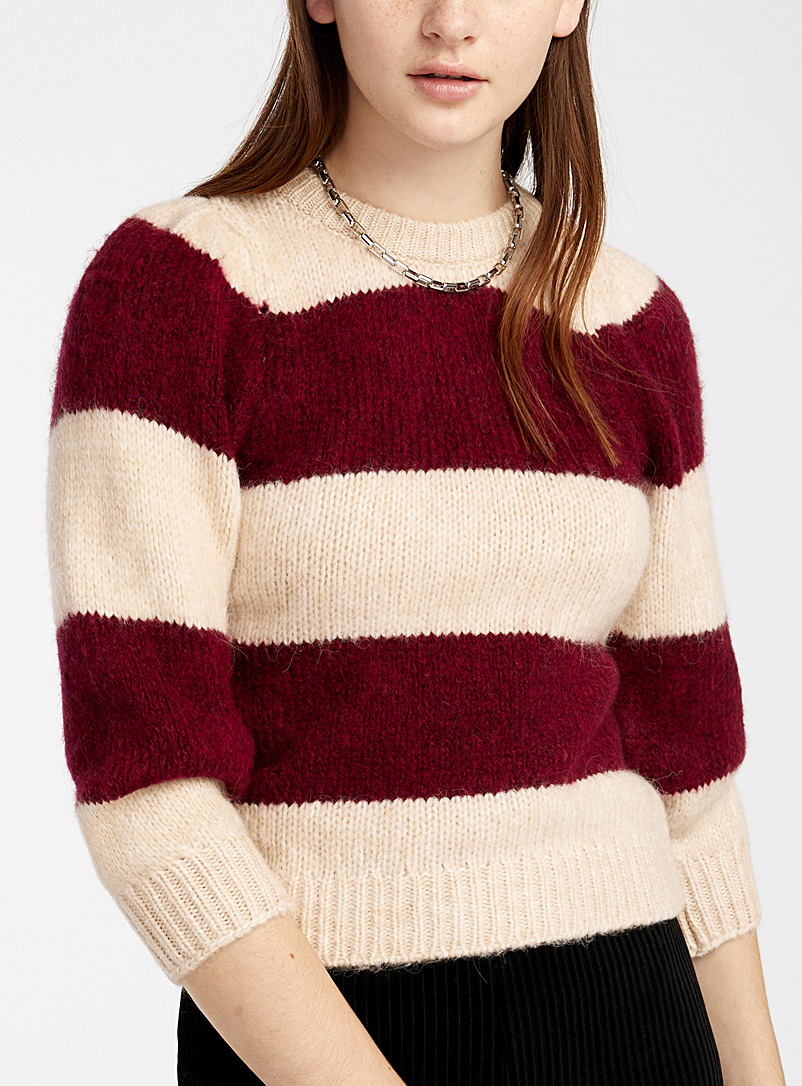 Only: Le pull rayures horizontales Rouge moyen-framboi-ceris pour femme
