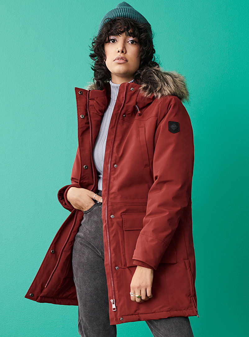Only Ruby Red Sally nylon utility parka for women