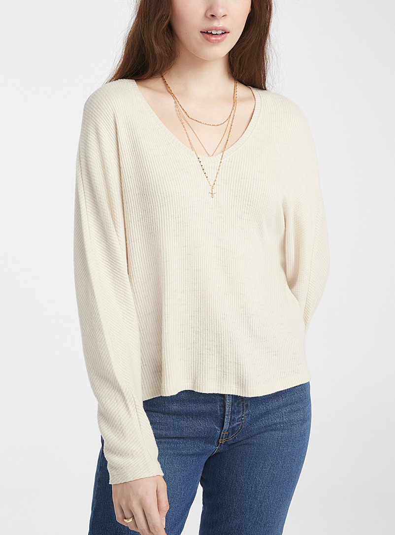 Only Cream Beige Ultra soft ribbed tee for women