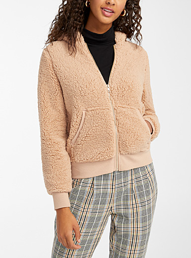 Only Fawn Plush zip hoodie for women