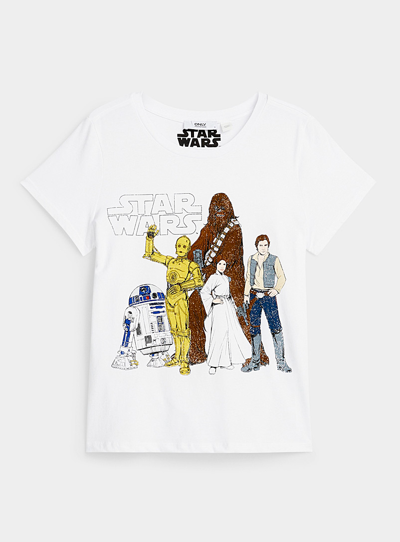 Only Ivory White Star Wars T-shirt for women