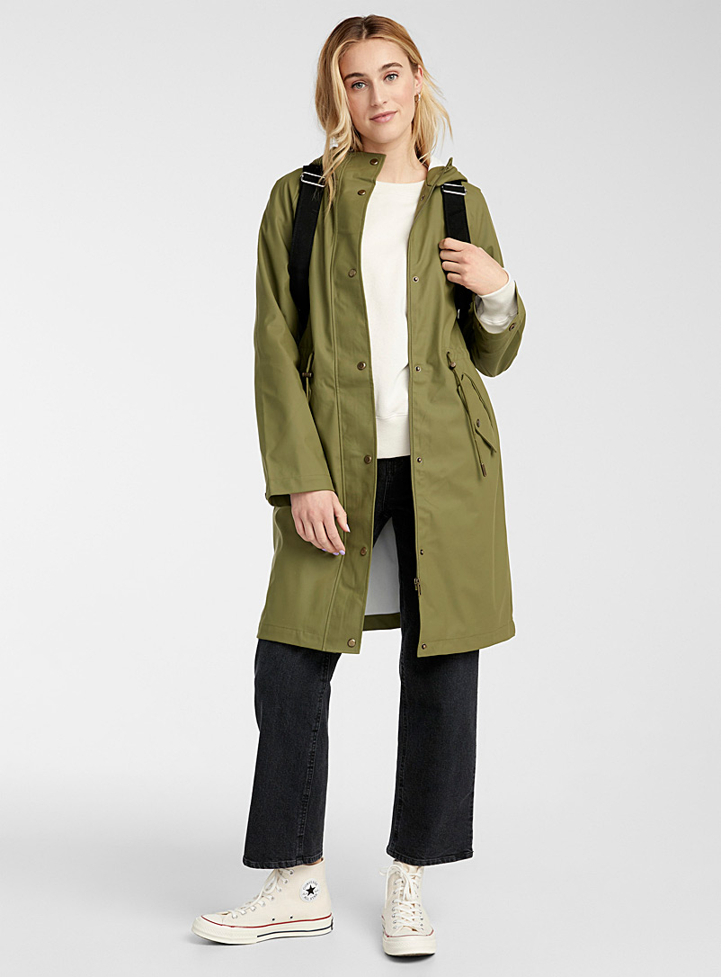 Only Mossy Green Long rubber utility raincoat for women