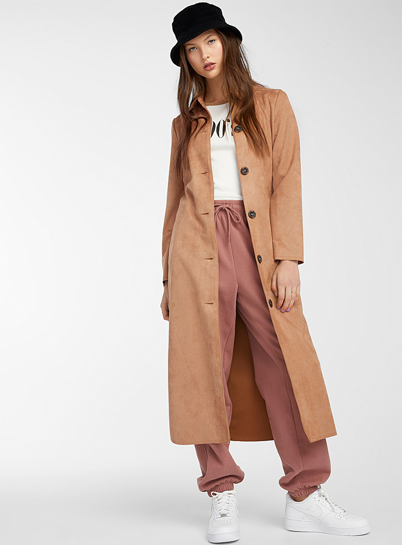 Only Light Brown Long faux-suede trench for women