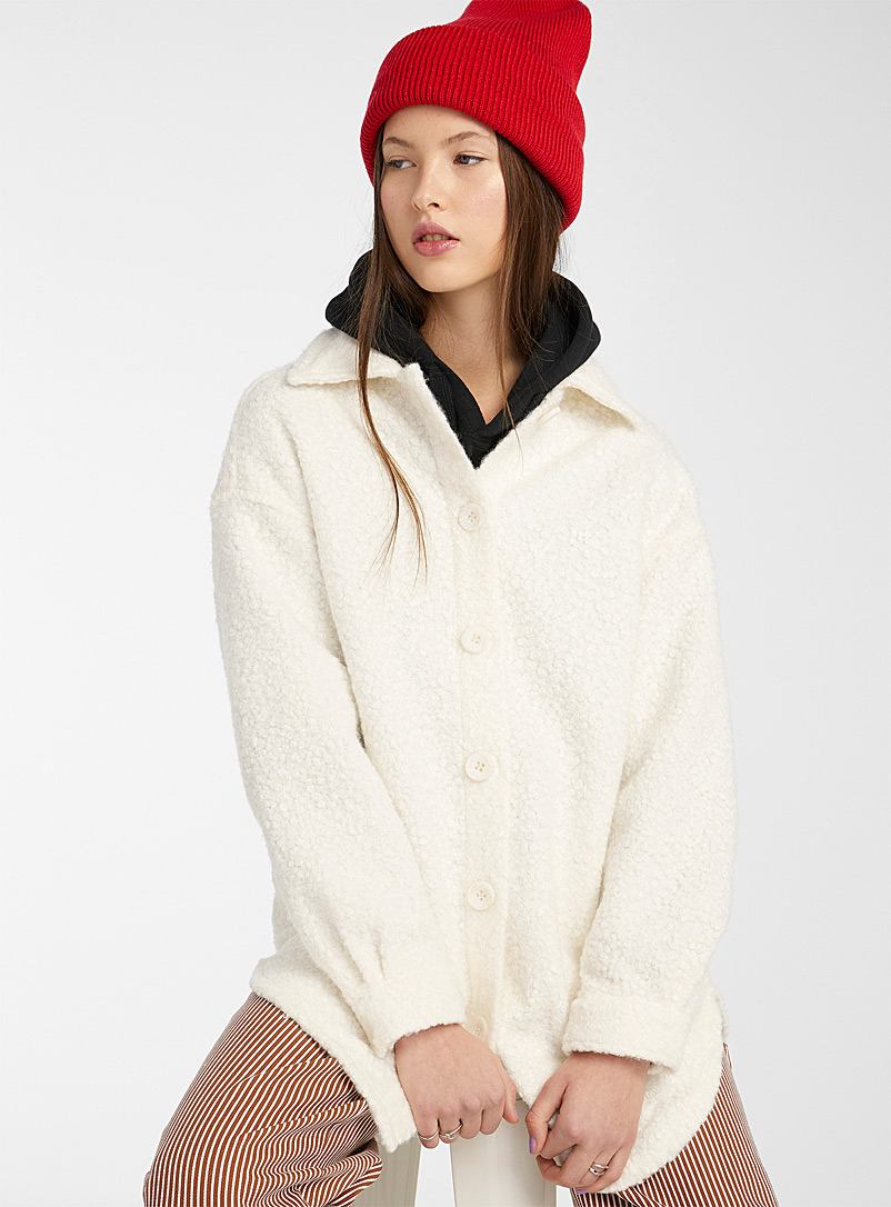 Only Ivory White Sherpa-like overshirt for women