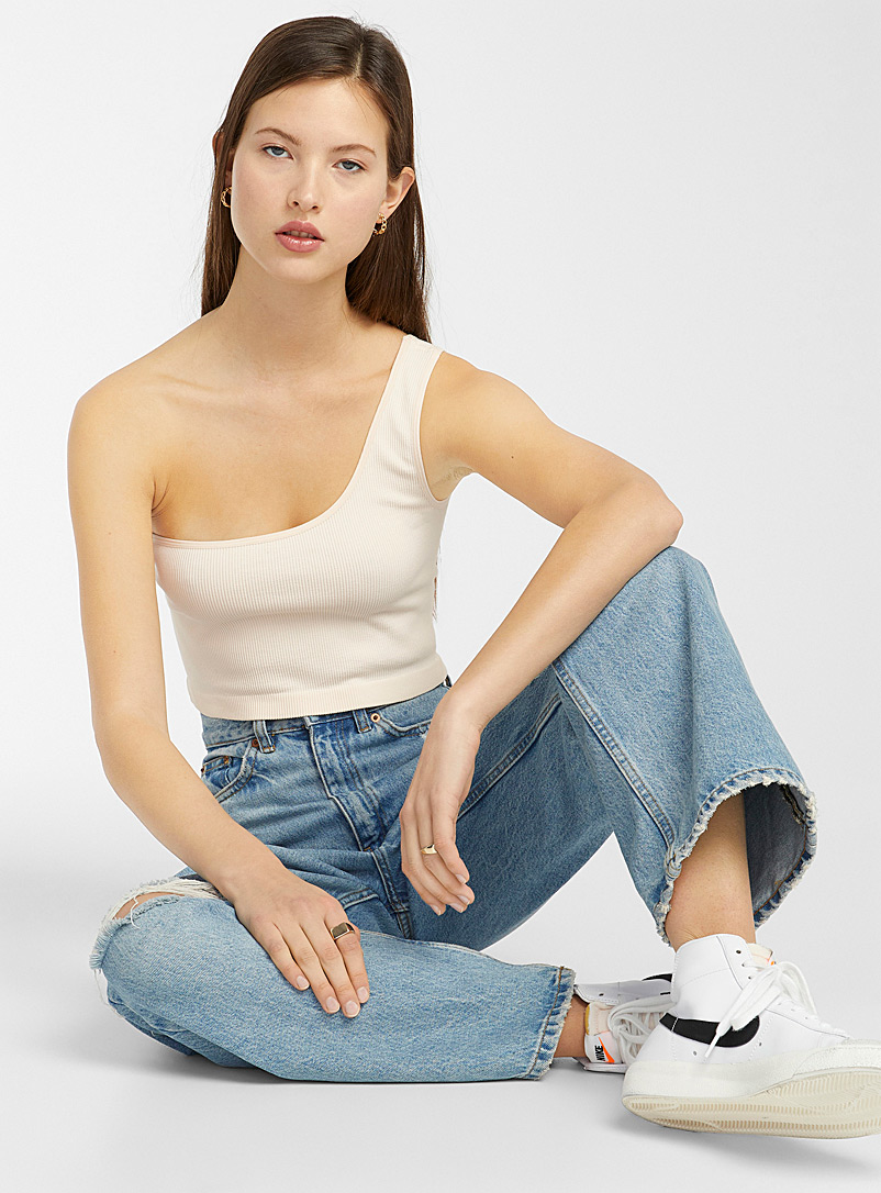 Only White One-strap cropped cami for women