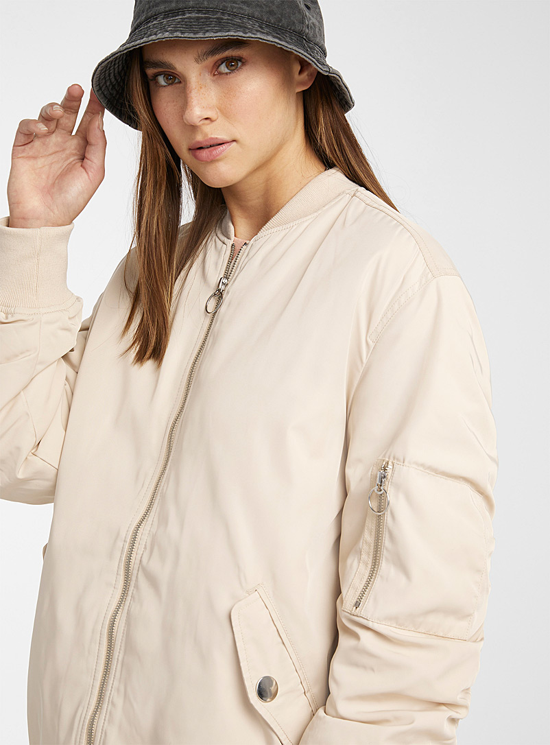 Only Ivory White Jenny long shiny bomber jacket for women