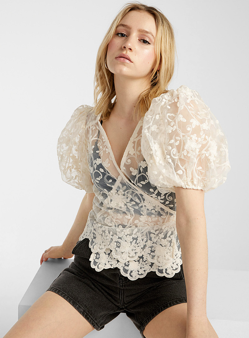 Only Ivory White Floral embroidery sheer blouse for women