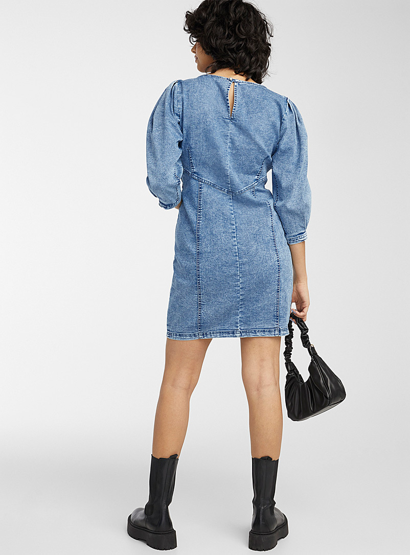 Only Blue Puff sleeve faded denim dress for women