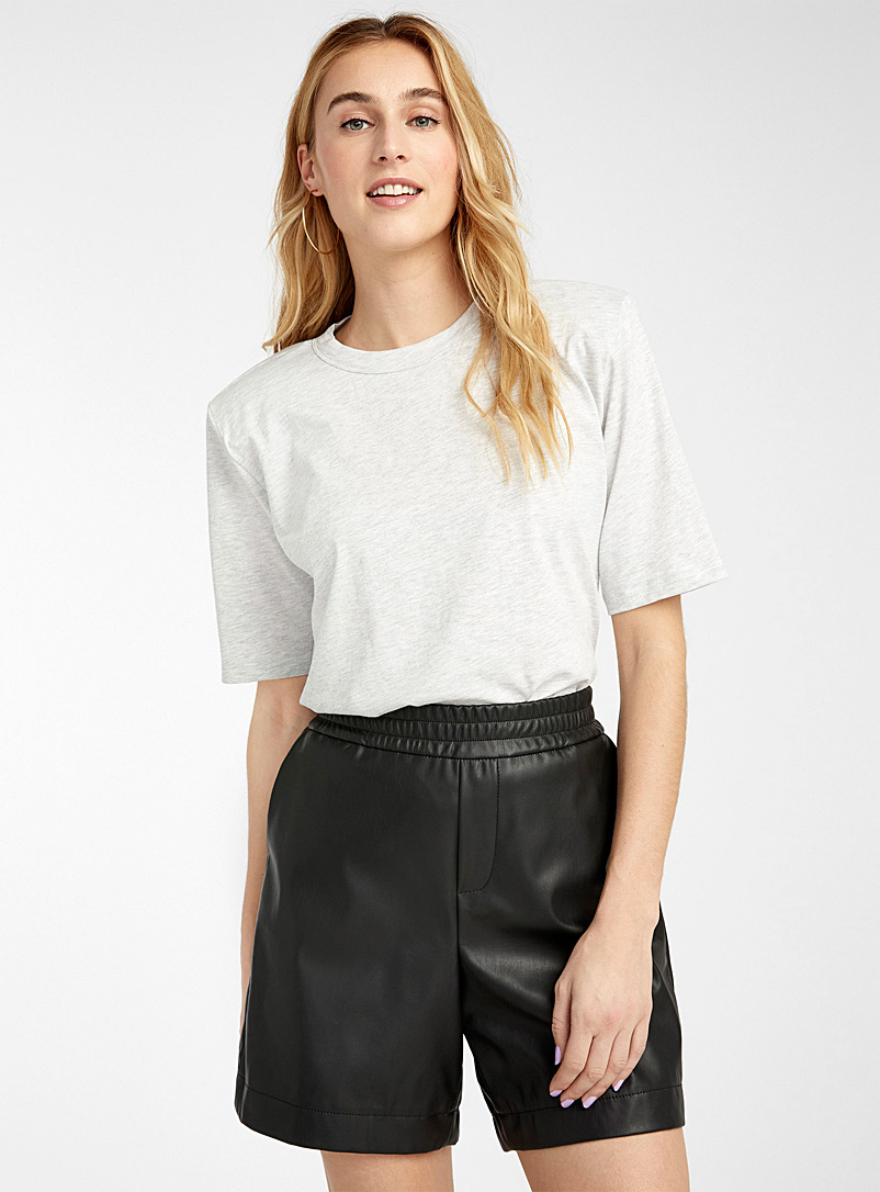 Only Grey Shoulder-pad cropped tee for women