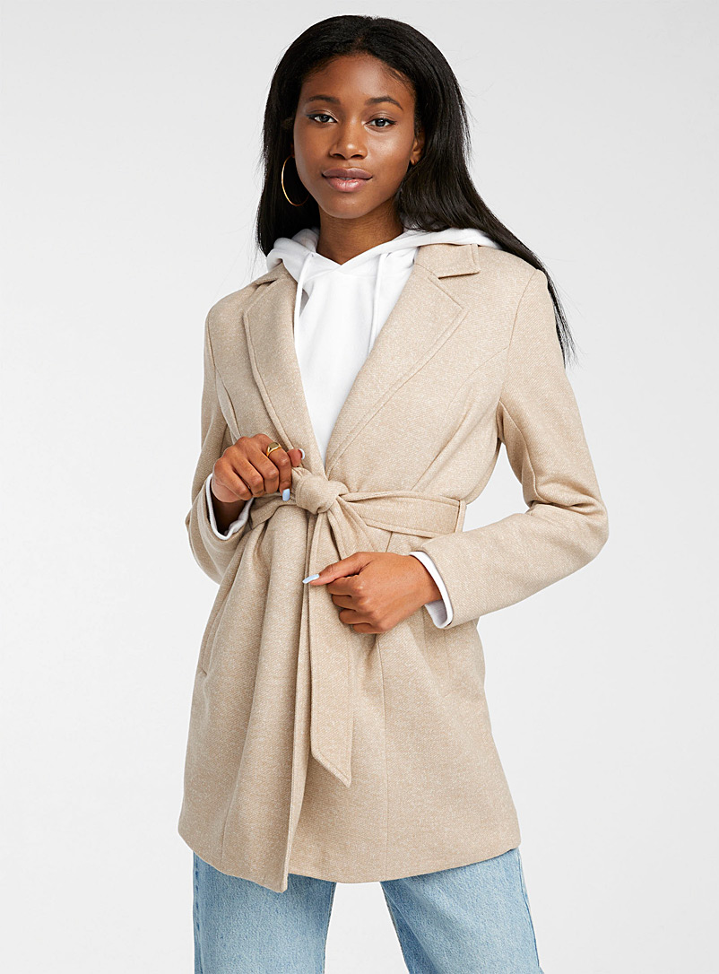Only Ecru/Linen Karen draped coat for women
