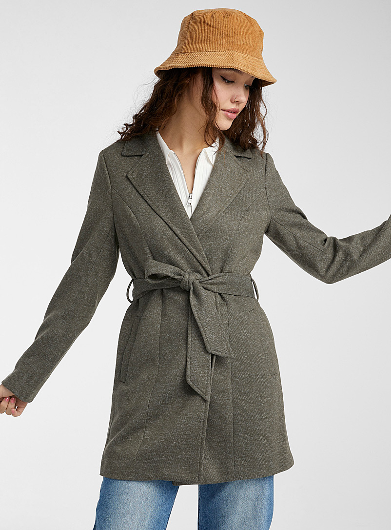 Only Mossy Green Karen draped coat for women