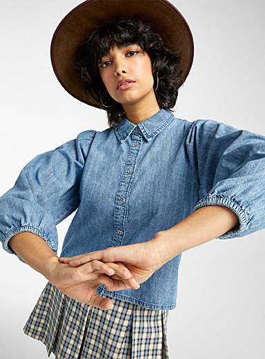 Puff-sleeve denim shirt