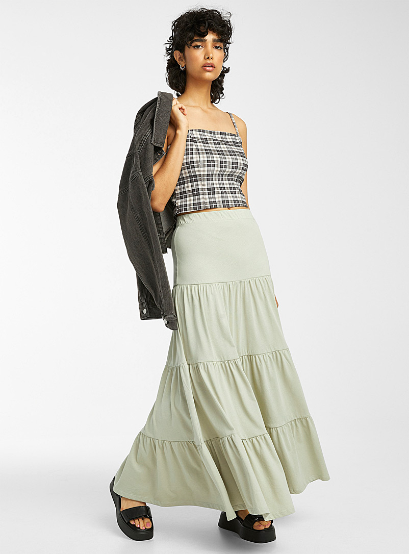 Only Khaki Jersey peasant maxi skirt for women
