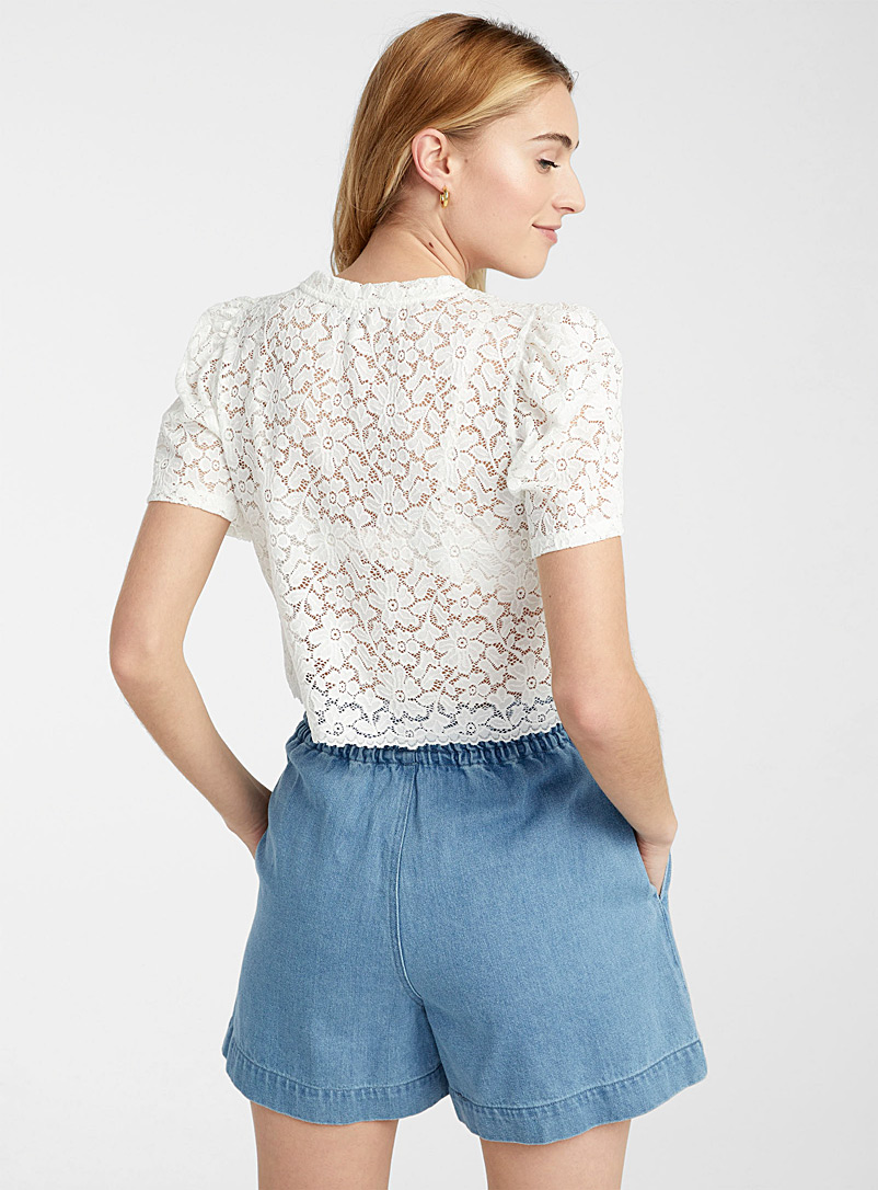 Only White Puff-sleeve lace tee for women