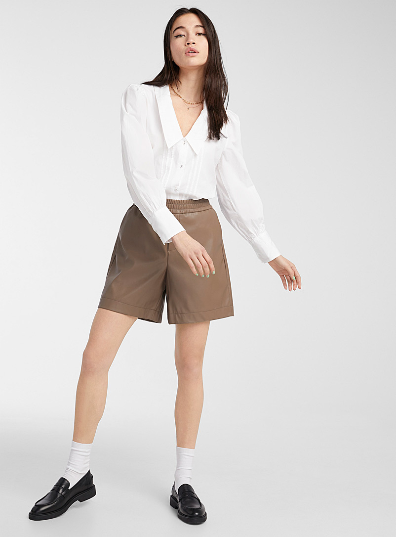 Only Light Brown Faux-leather Bermudas for women