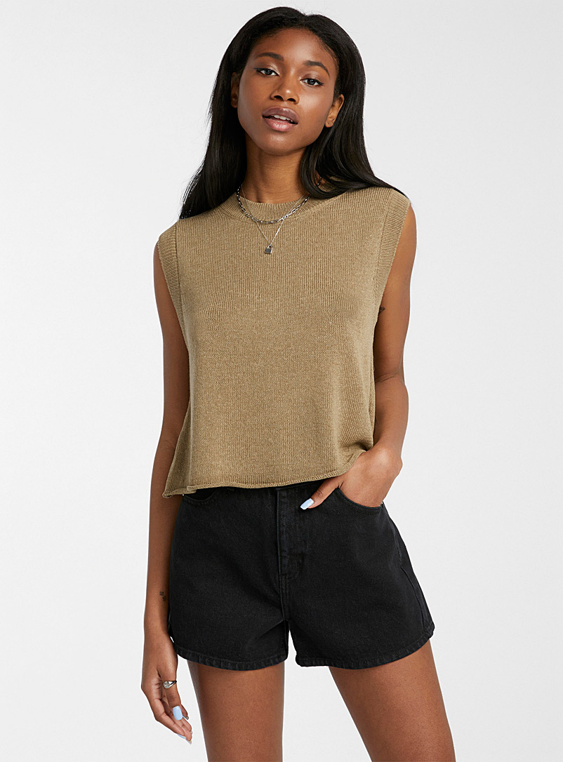 Only Brown Touch of linen knit cami for women
