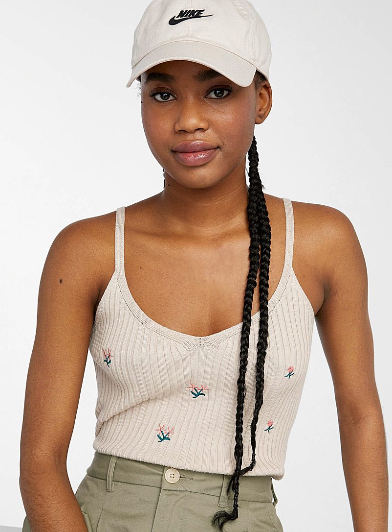 Only Cream Beige Embroidered floral ribbed cami for women