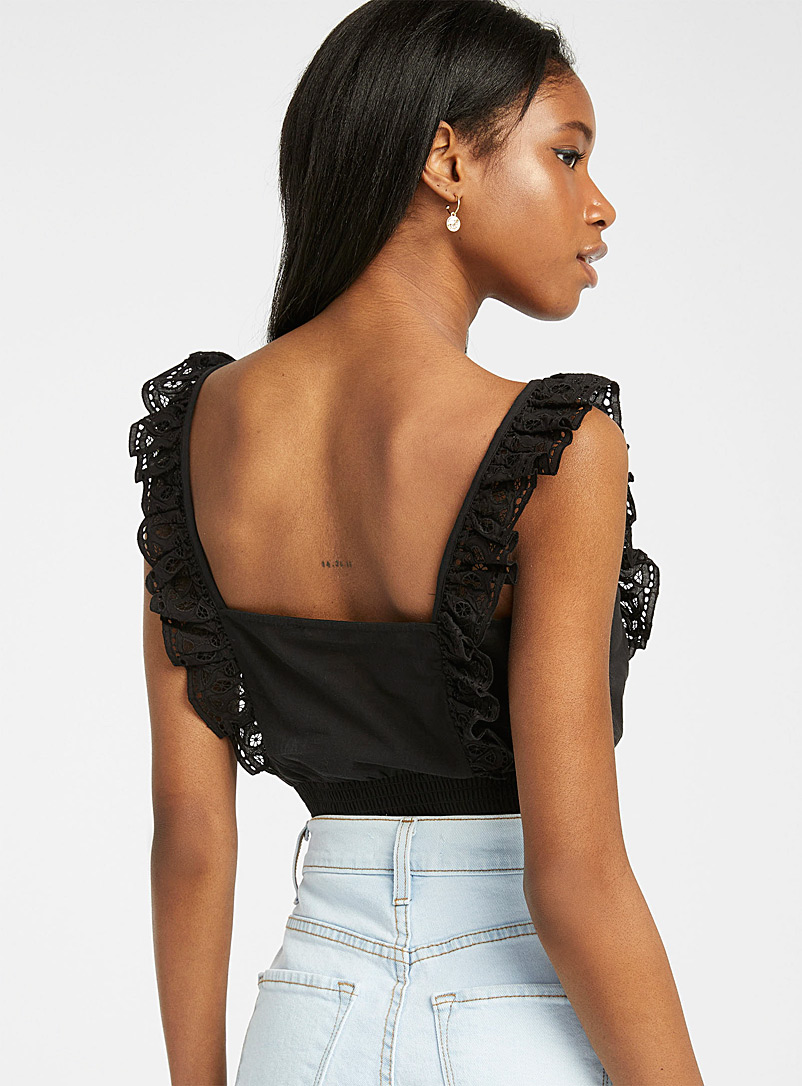 Only Black Broderie anglaise smocked cami for women