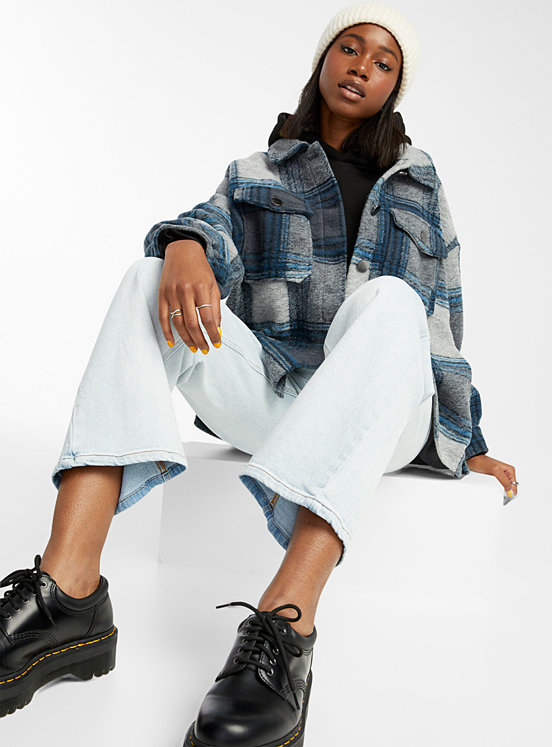 Only Patterned Grey Midnight blue check overshirt for women