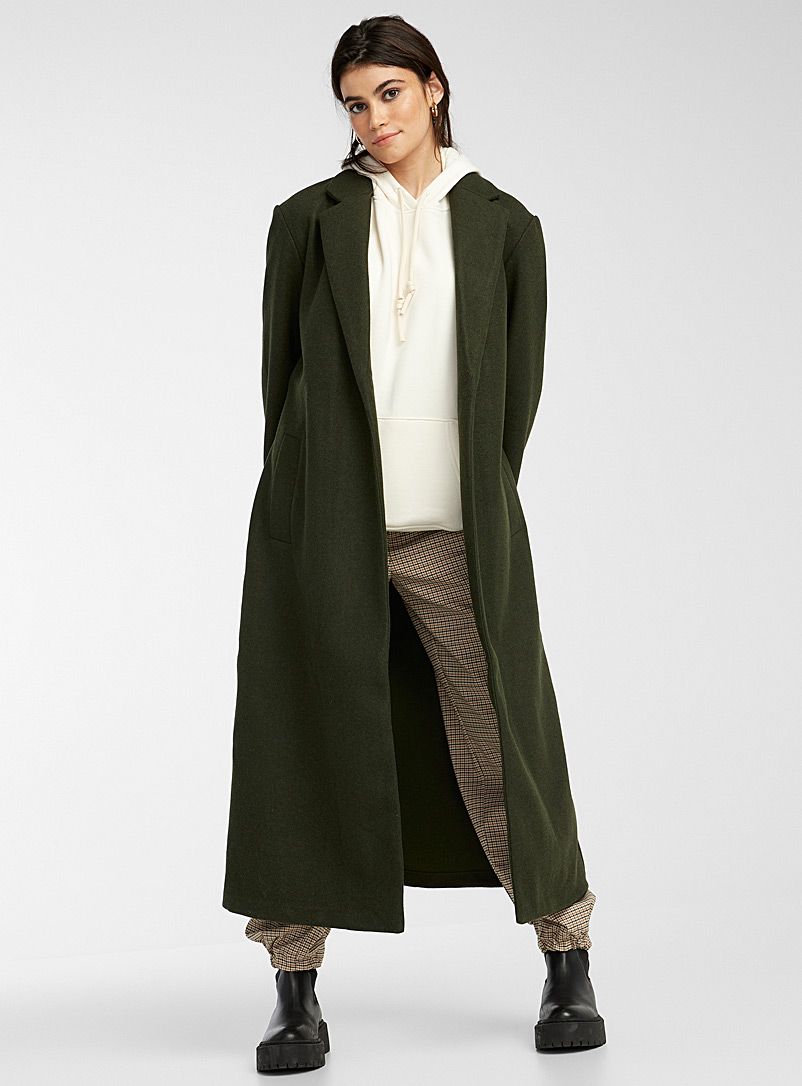 Only Patterned Green Long belted faux-wool coat for women