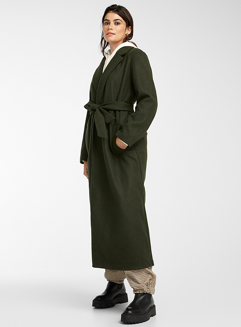 Only Grey Long belted faux-wool coat for women