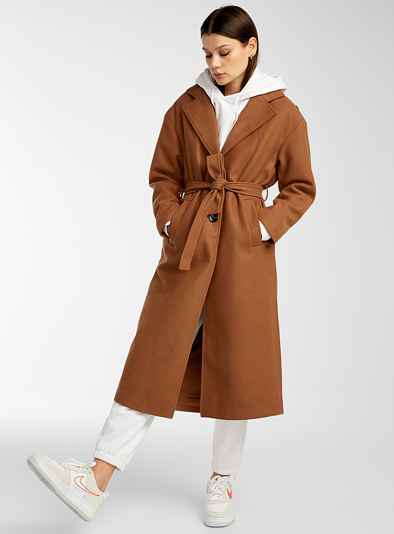 Only Light Brown Buttoned and belted felt coat for women