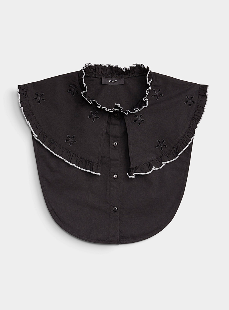 Only Black Embroidered ruffled faux collar for women