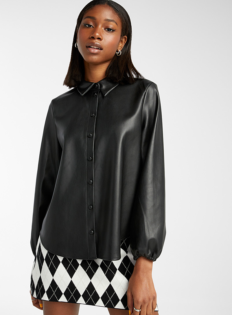 Only Black Supple faux-leather shirt for women