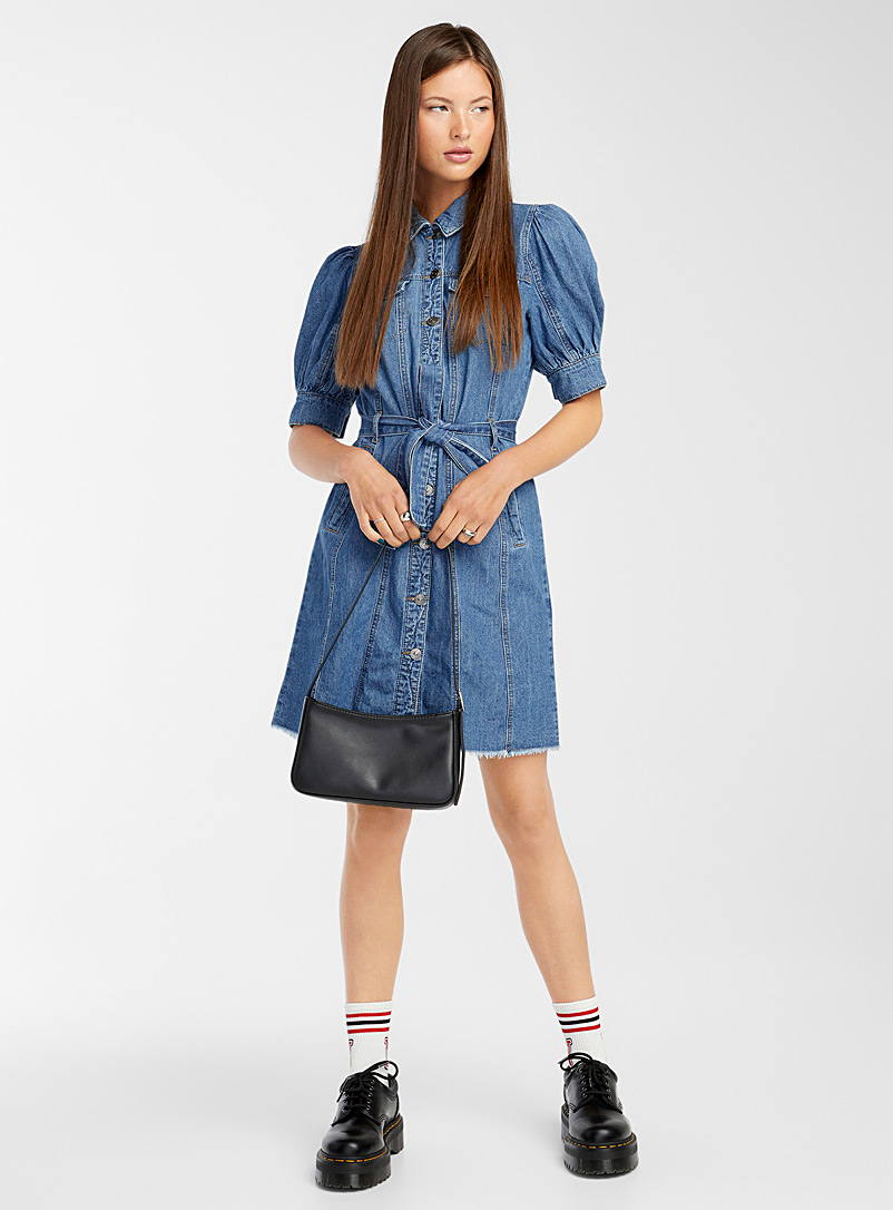Only Blue Puff-sleeve belted denim dress for women