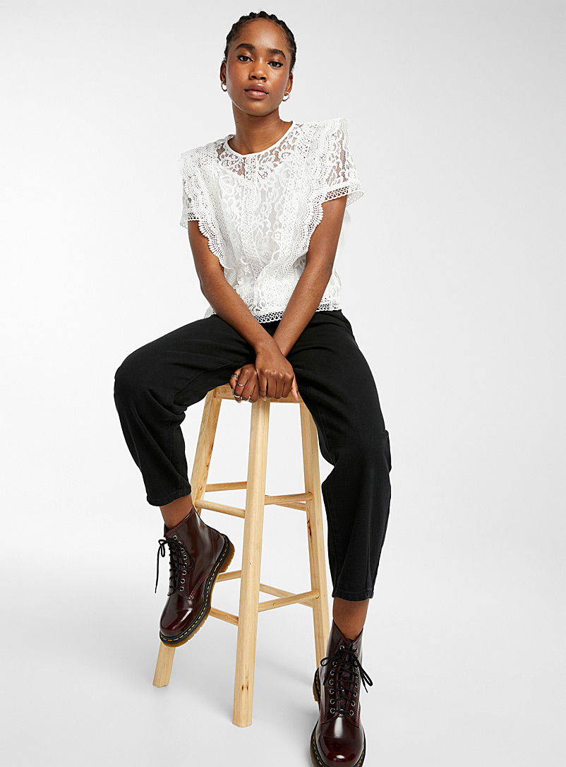 Only Black Lace and embroidery blouse for women