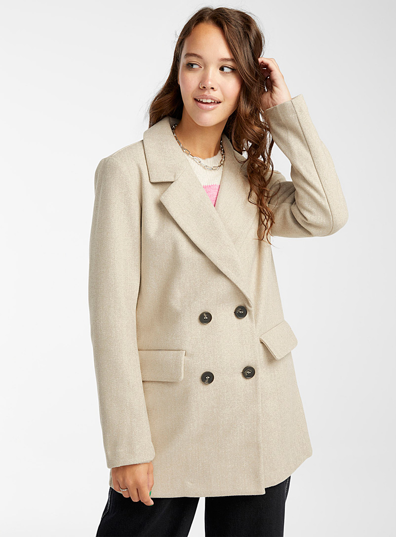 Only Cream Beige Straight double-breasted coat for women